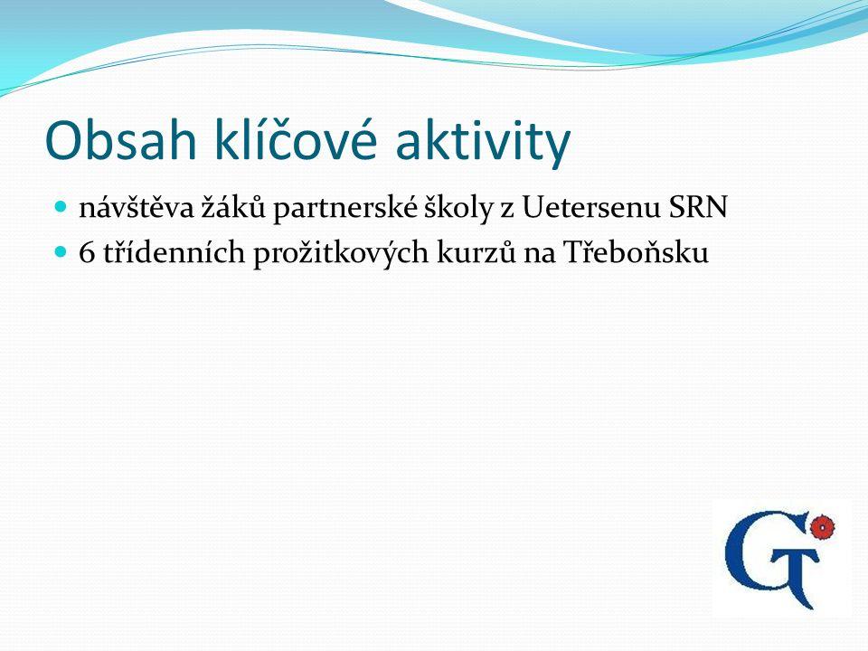 Obsah klíčové aktivity návštěva žáků partnerské školy z Uetersenu SRN 6 třídenních prožitkových kurzů na Třeboňsku