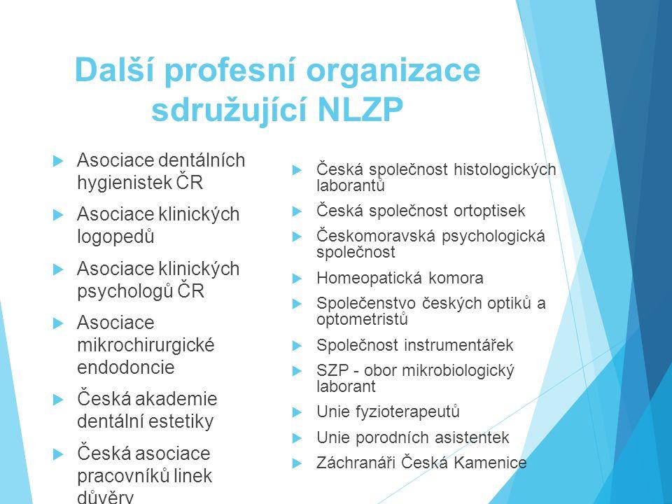 Další profesní organizace sdružující NLZP  Asociace dentálních hygienistek ČR  Asociace klinických logopedů  Asociace klinických psychologů ČR  As
