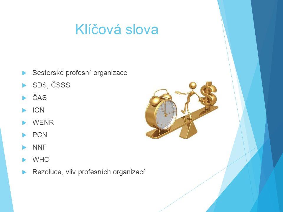 Klíčová slova  Sesterské profesní organizace  SDS, ČSSS  ČAS  ICN  WENR  PCN  NNF  WHO  Rezoluce, vliv profesních organizací