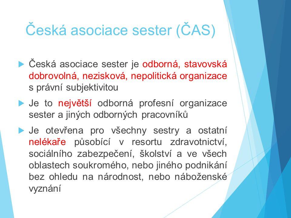 Česká asociace sester (ČAS)  Česká asociace sester je odborná, stavovská dobrovolná, nezisková, nepolitická organizace s právní subjektivitou  Je to největší odborná profesní organizace sester a jiných odborných pracovníků  Je otevřena pro všechny sestry a ostatní nelékaře působící v resortu zdravotnictví, sociálního zabezpečení, školství a ve všech oblastech soukromého, nebo jiného podnikání bez ohledu na národnost, nebo náboženské vyznání