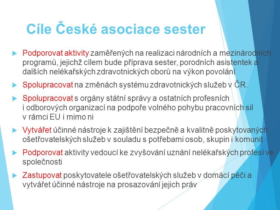 Cíle České asociace sester  Podporovat aktivity zaměřených na realizaci národních a mezinárodních programů, jejichž cílem bude příprava sester, porod