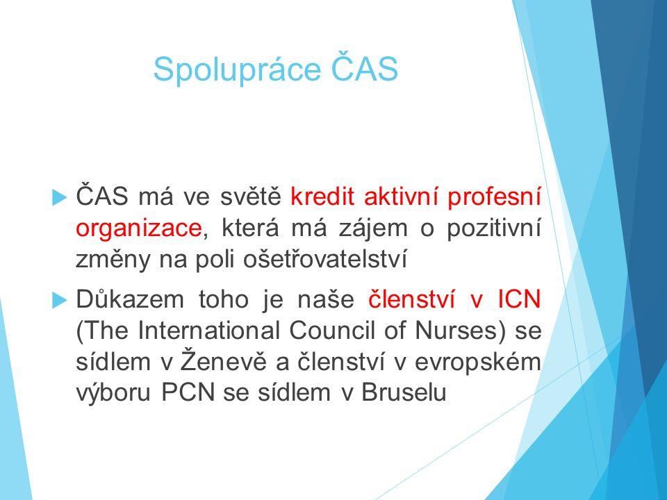 Spolupráce ČAS  ČAS má ve světě kredit aktivní profesní organizace, která má zájem o pozitivní změny na poli ošetřovatelství  Důkazem toho je naše členství v ICN (The International Council of Nurses) se sídlem v Ženevě a členství v evropském výboru PCN se sídlem v Bruselu
