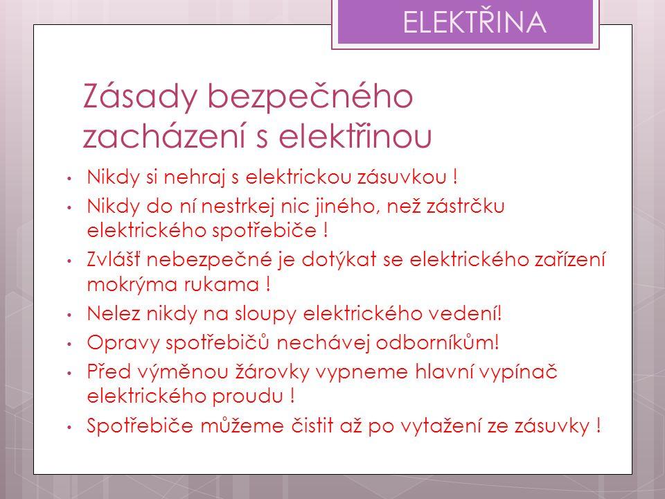 Zásady bezpečného zacházení s elektřinou Nikdy si nehraj s elektrickou zásuvkou ! Nikdy do ní nestrkej nic jiného, než zástrčku elektrického spotřebič