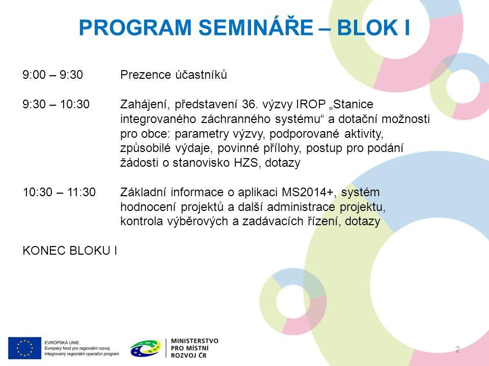PROGRAM SEMINÁŘE – BLOK I 9:00 – 9:30Prezence účastníků 9:30 – 10:30Zahájení, představení 36.