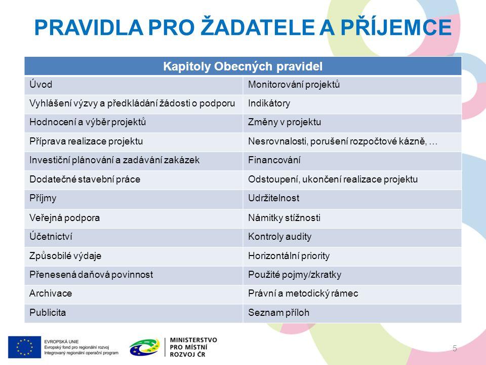 Kapitoly Obecných pravidel ÚvodMonitorování projektů Vyhlášení výzvy a předkládání žádosti o podporuIndikátory Hodnocení a výběr projektůZměny v projektu Příprava realizace projektuNesrovnalosti, porušení rozpočtové kázně, … Investiční plánování a zadávání zakázekFinancování Dodatečné stavební práceOdstoupení, ukončení realizace projektu PříjmyUdržitelnost Veřejná podporaNámitky stížnosti ÚčetnictvíKontroly audity Způsobilé výdajeHorizontální priority Přenesená daňová povinnostPoužité pojmy/zkratky ArchivacePrávní a metodický rámec PublicitaSeznam příloh PRAVIDLA PRO ŽADATELE A PŘÍJEMCE 5