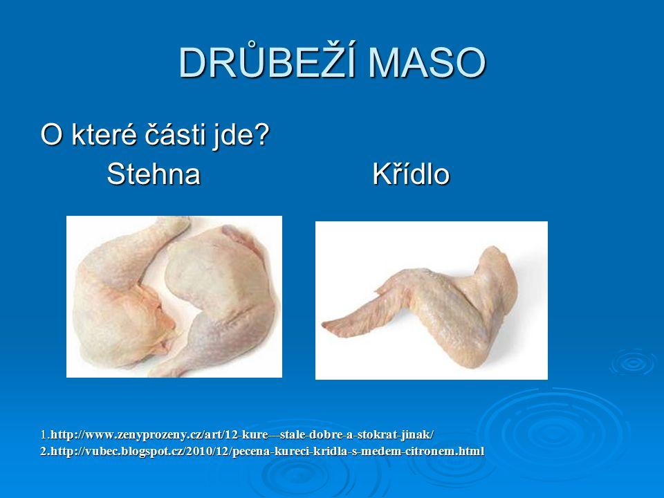 DRŮBEŽÍ MASO O které části jde? StehnaKřídlo 1.http://www.zenyprozeny.cz/art/12-kure---stale-dobre-a-stokrat-jinak/ 2.http://vubec.blogspot.cz/2010/12