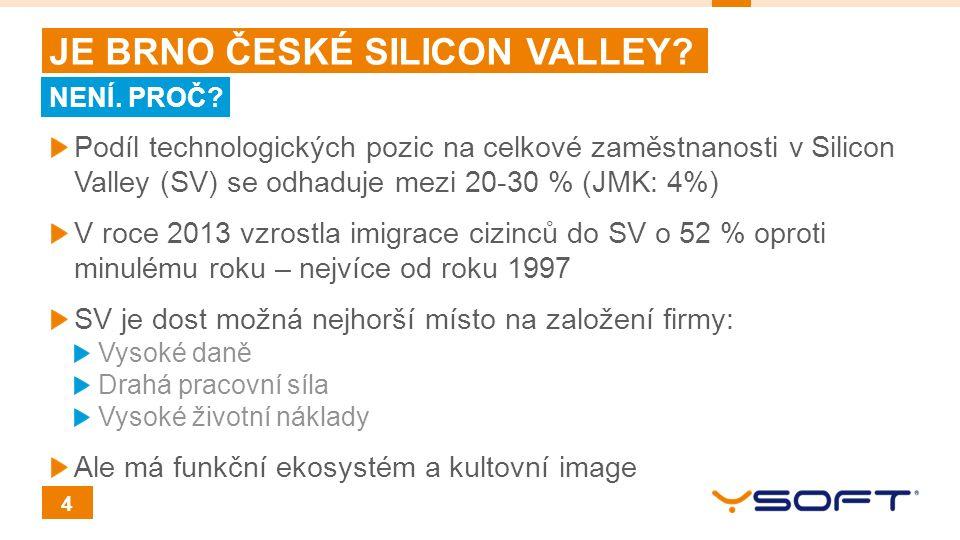 4 JE BRNO ČESKÉ SILICON VALLEY? Podíl technologických pozic na celkové zaměstnanosti v Silicon Valley (SV) se odhaduje mezi 20-30 % (JMK: 4%) V roce 2