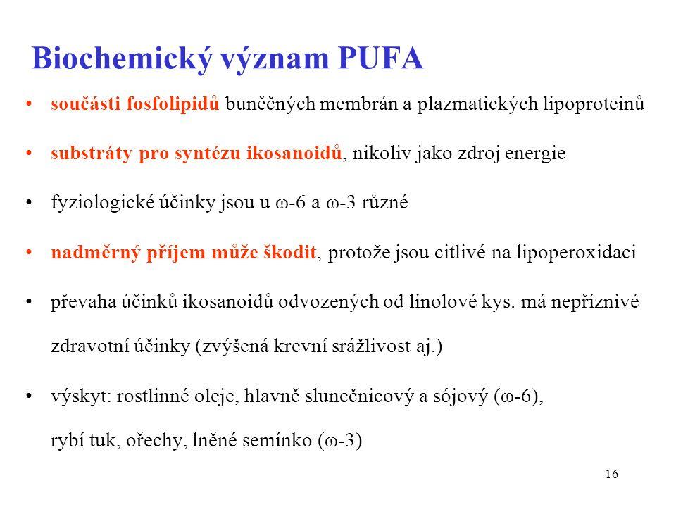 16 Biochemický význam PUFA součásti fosfolipidů buněčných membrán a plazmatických lipoproteinů substráty pro syntézu ikosanoidů, nikoliv jako zdroj energie fyziologické účinky jsou u ω-6 a ω-3 různé nadměrný příjem může škodit, protože jsou citlivé na lipoperoxidaci převaha účinků ikosanoidů odvozených od linolové kys.