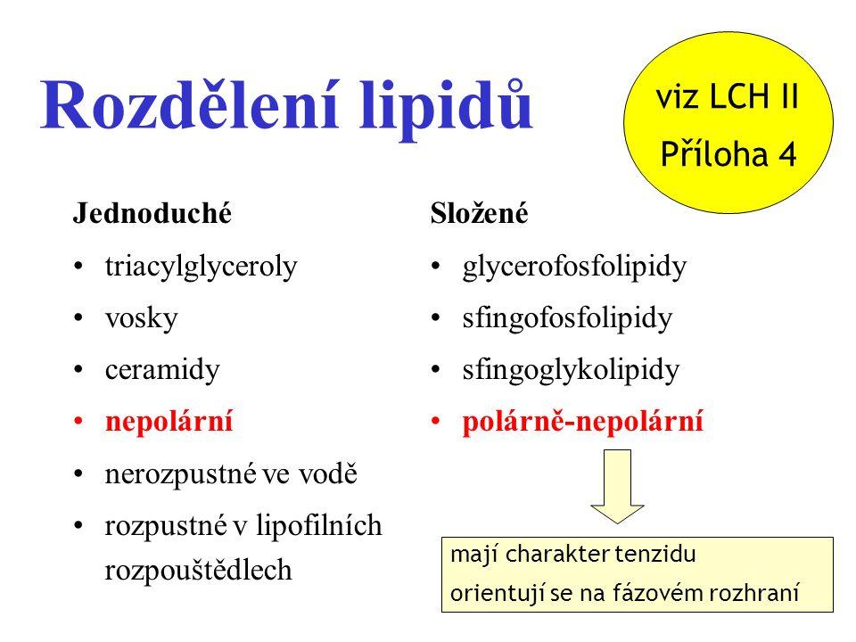 2 Rozdělení lipidů Jednoduché triacylglyceroly vosky ceramidy nepolární nerozpustné ve vodě rozpustné v lipofilních rozpouštědlech Složené glycerofosfolipidy sfingofosfolipidy sfingoglykolipidy polárně-nepolární mají charakter tenzidu orientují se na fázovém rozhraní viz LCH II Příloha 4