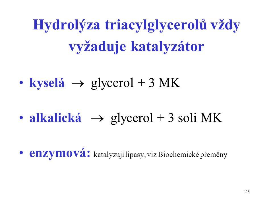 25 Hydrolýza triacylglycerolů vždy vyžaduje katalyzátor kyselá  glycerol + 3 MK alkalická  glycerol + 3 soli MK enzymová: katalyzují lipasy, viz Biochemické přeměny