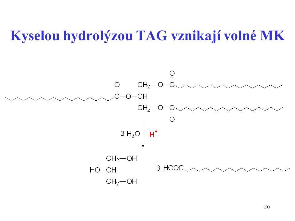 26 Kyselou hydrolýzou TAG vznikají volné MK