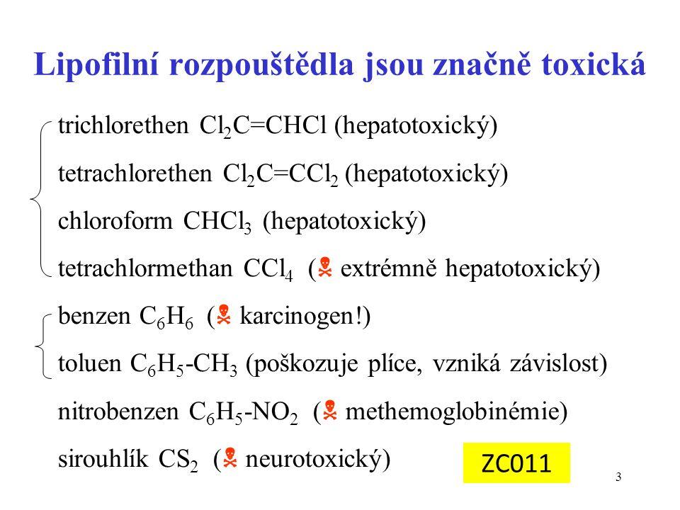 3 Lipofilní rozpouštědla jsou značně toxická trichlorethen Cl 2 C=CHCl (hepatotoxický) tetrachlorethen Cl 2 C=CCl 2 (hepatotoxický) chloroform CHCl 3 (hepatotoxický) tetrachlormethan CCl 4 (  extrémně hepatotoxický) benzen C 6 H 6 (  karcinogen!) toluen C 6 H 5 -CH 3 (poškozuje plíce, vzniká závislost) nitrobenzen C 6 H 5 -NO 2 (  methemoglobinémie) sirouhlík CS 2 (  neurotoxický) ZC011