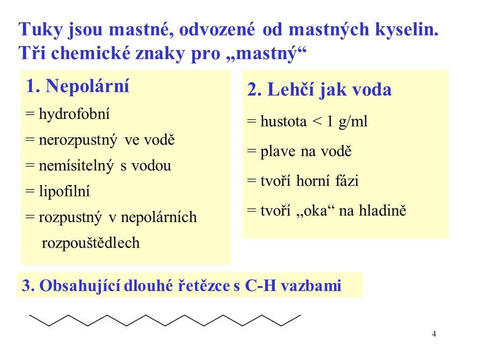"""4 Tuky jsou mastné, odvozené od mastných kyselin. Tři chemické znaky pro """"mastný 1."""