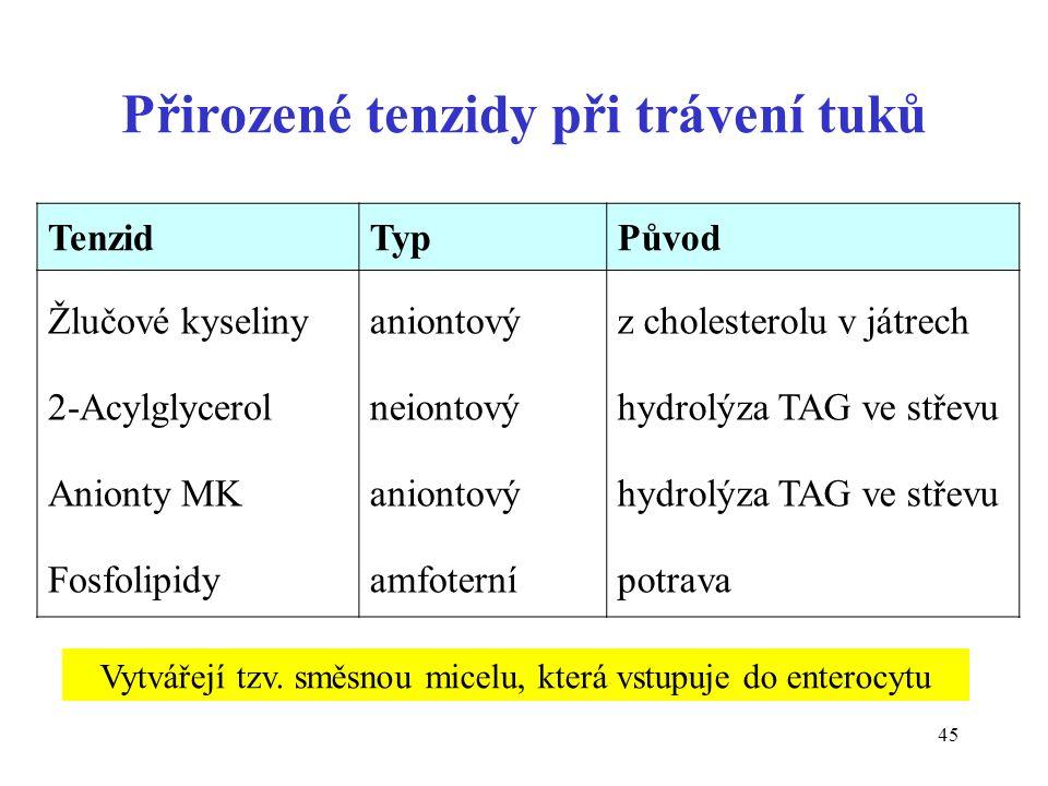 45 Přirozené tenzidy při trávení tuků TenzidTypPůvod Žlučové kyseliny 2-Acylglycerol Anionty MK Fosfolipidy aniontový neiontový aniontový amfoterní z cholesterolu v játrech hydrolýza TAG ve střevu potrava Vytvářejí tzv.