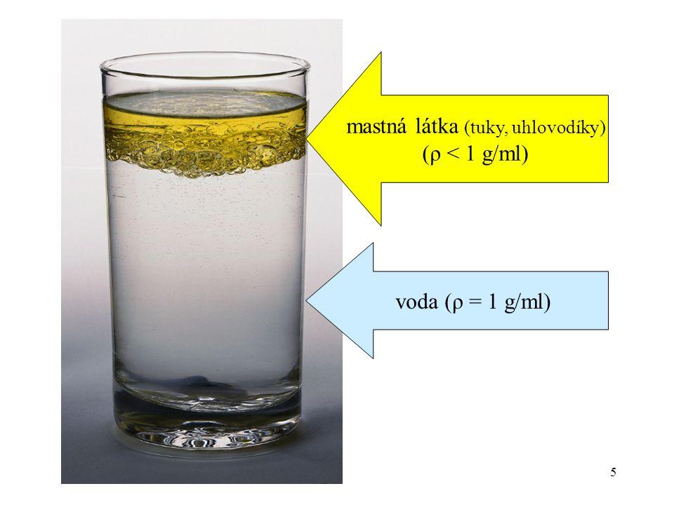 5 voda (ρ = 1 g/ml) mastná látka (tuky, uhlovodíky) (ρ < 1 g/ml)