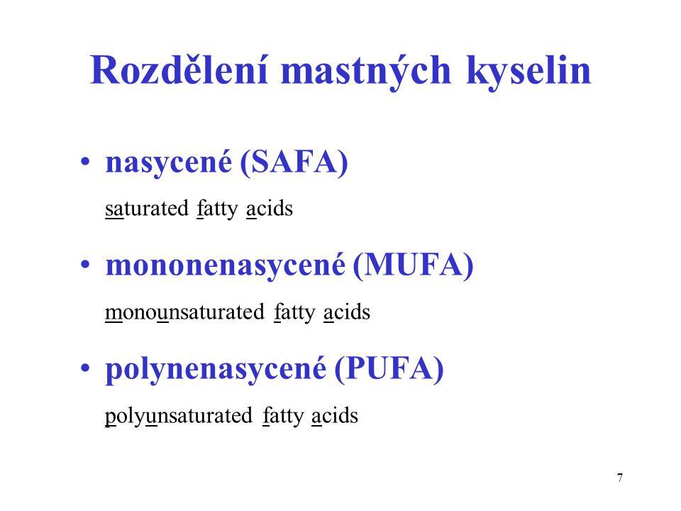 7 Rozdělení mastných kyselin nasycené (SAFA) saturated fatty acids mononenasycené (MUFA) monounsaturated fatty acids polynenasycené (PUFA) polyunsaturated fatty acids