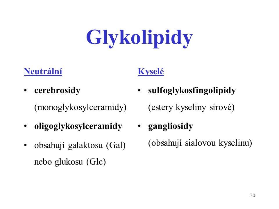 70 Glykolipidy Neutrální cerebrosidy (monoglykosylceramidy) oligoglykosylceramidy obsahují galaktosu (Gal) nebo glukosu (Glc) Kyselé sulfoglykosfingolipidy (estery kyseliny sírové) gangliosidy (obsahují sialovou kyselinu)
