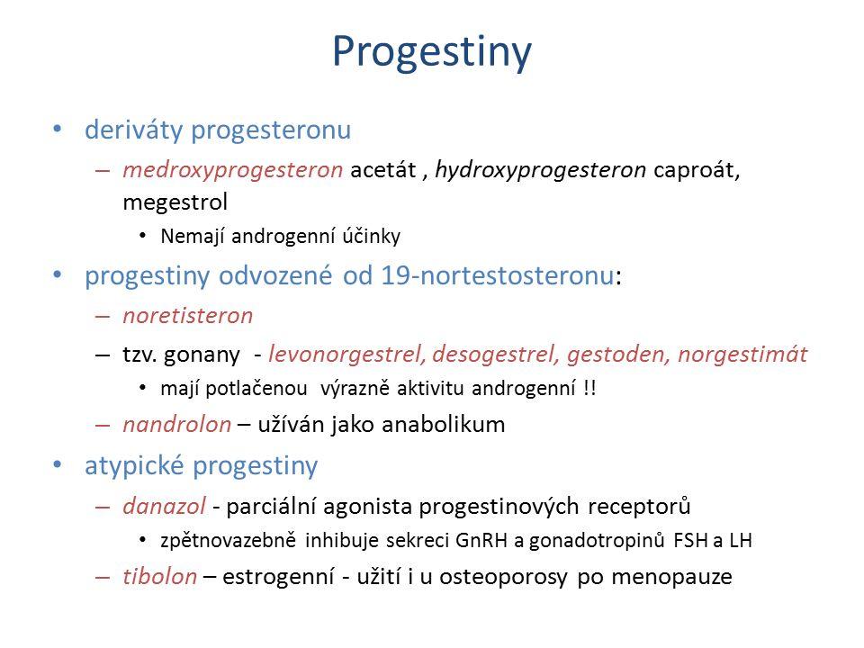Progestiny deriváty progesteronu – medroxyprogesteron acetát, hydroxyprogesteron caproát, megestrol Nemají androgenní účinky progestiny odvozené od 19