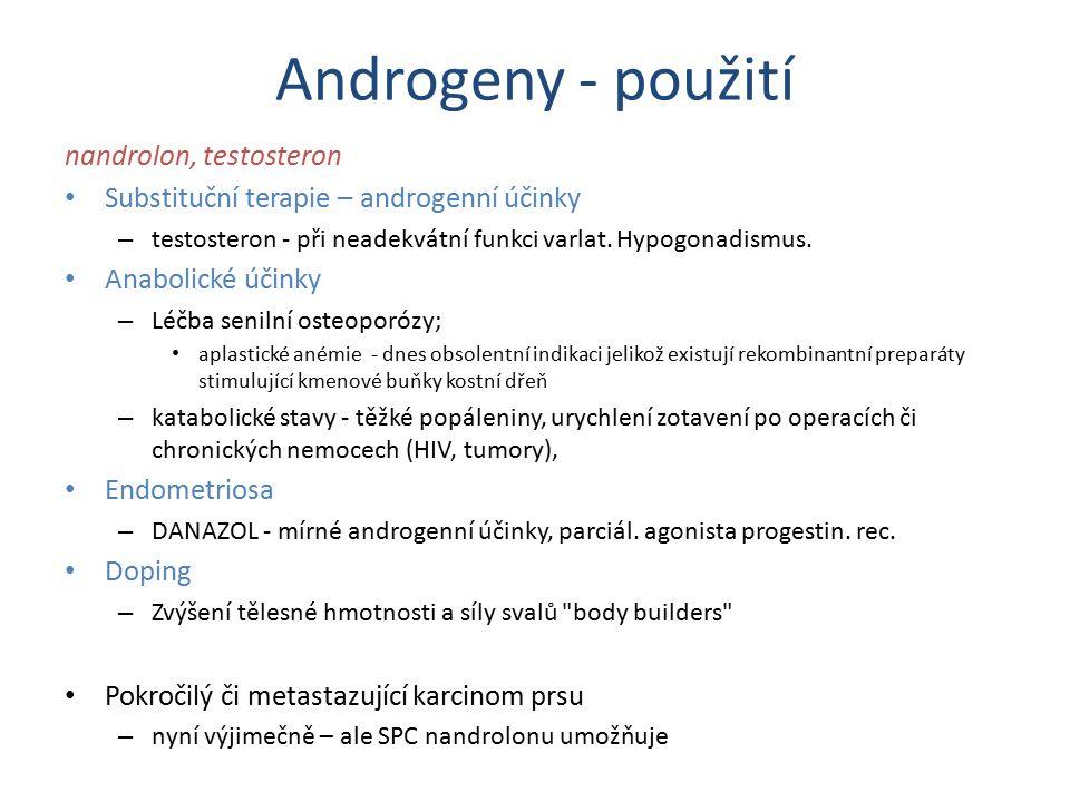 Androgeny - použití nandrolon, testosteron Substituční terapie – androgenní účinky – testosteron - při neadekvátní funkci varlat. Hypogonadismus. Anab