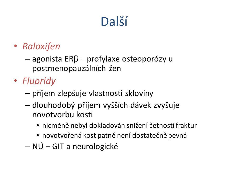 Další Raloxifen – agonista ER  – profylaxe osteoporózy u postmenopauzálních žen Fluoridy – příjem zlepšuje vlastnosti skloviny – dlouhodobý příjem vy