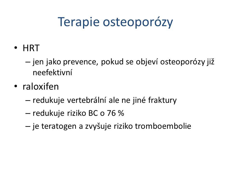 Terapie osteoporózy HRT – jen jako prevence, pokud se objeví osteoporózy již neefektivní raloxifen – redukuje vertebrální ale ne jiné fraktury – reduk