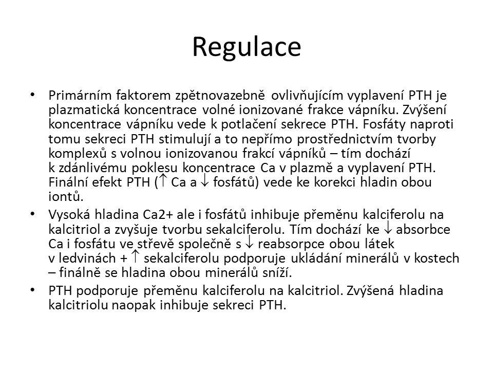 Regulace Primárním faktorem zpětnovazebně ovlivňujícím vyplavení PTH je plazmatická koncentrace volné ionizované frakce vápníku. Zvýšení koncentrace v
