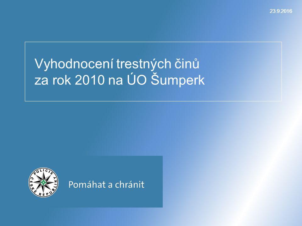 23.9.2016 Vyhodnocení trestných činů za rok 2010 na ÚO Šumperk