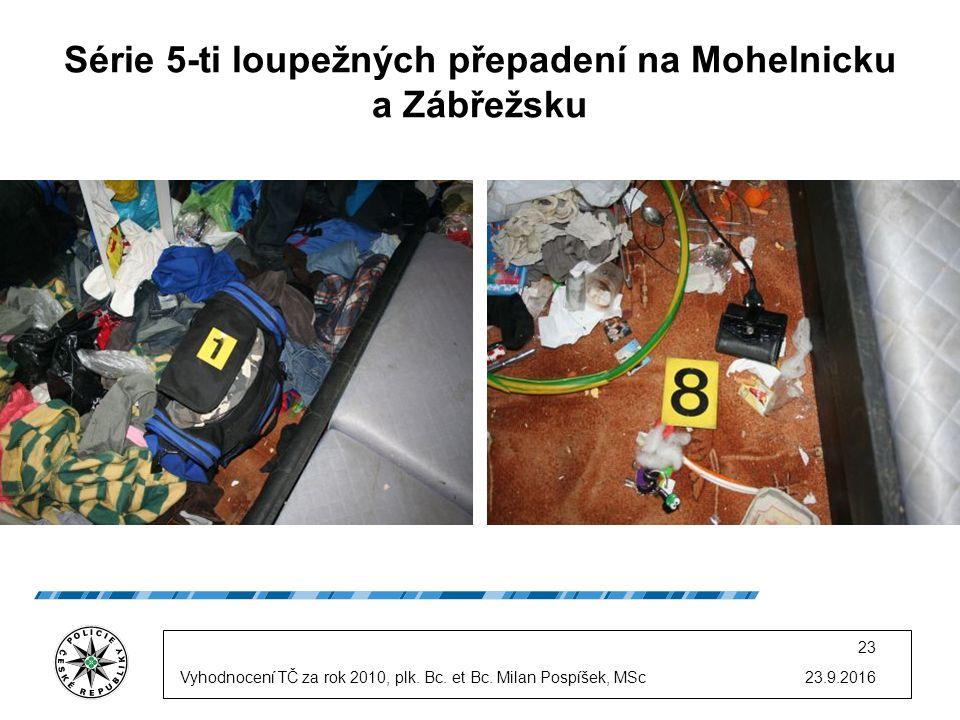 23.9.2016 23 Série 5-ti loupežných přepadení na Mohelnicku a Zábřežsku Vyhodnocení TČ za rok 2010, plk.