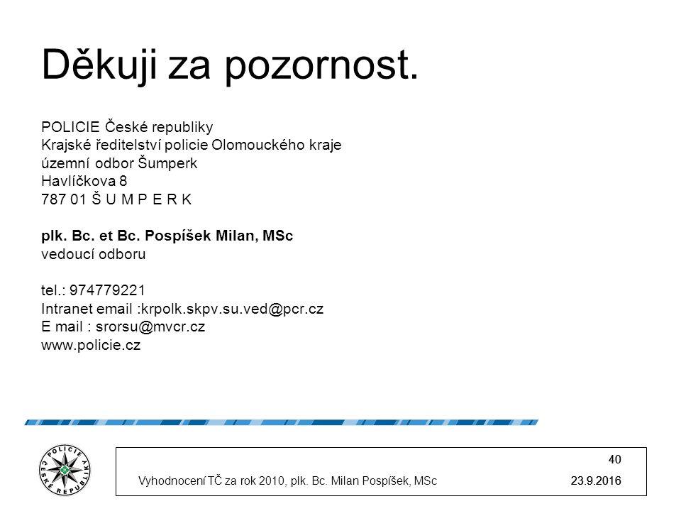 23.9.2016 40 23.9.2016 40 23.9.2016Vyhodnocení TČ za rok 2010, plk.