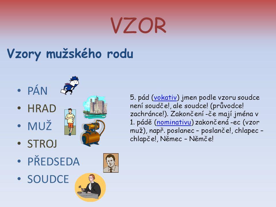 VZOR Vzory mužského rodu PÁN HRAD MUŽ STROJ PŘEDSEDA SOUDCE 5.