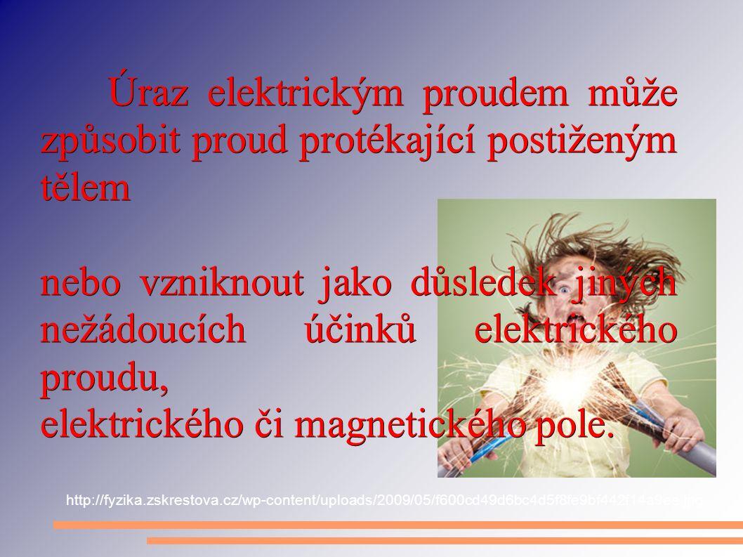 Úraz elektrickým proudem m ů že zp ů sobit proud protékající postiženým t ě lem nebo vzniknout jako d ů sledek jiných nežádoucích ú č ink ů elektrické