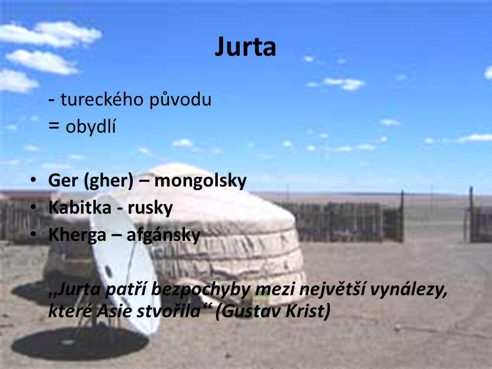 """Jurta - tureckého původu = obydlí Ger (gher) – mongolsky Kabitka - rusky Kherga – afgánsky """" Jurta patří bezpochyby mezi největší vynálezy, které Asie stvořila (Gustav Krist)"""