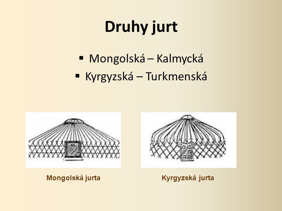 Druhy jurt  Mongolská – Kalmycká  Kyrgyzská – Turkmenská Mongolská jurtaKyrgyzská jurta