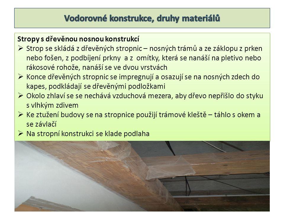 Stropy s dřevěnou nosnou konstrukcí  Strop se skládá z dřevěných stropnic – nosných trámů a ze záklopu z prken nebo fošen, z podbíjení prkny a z omít