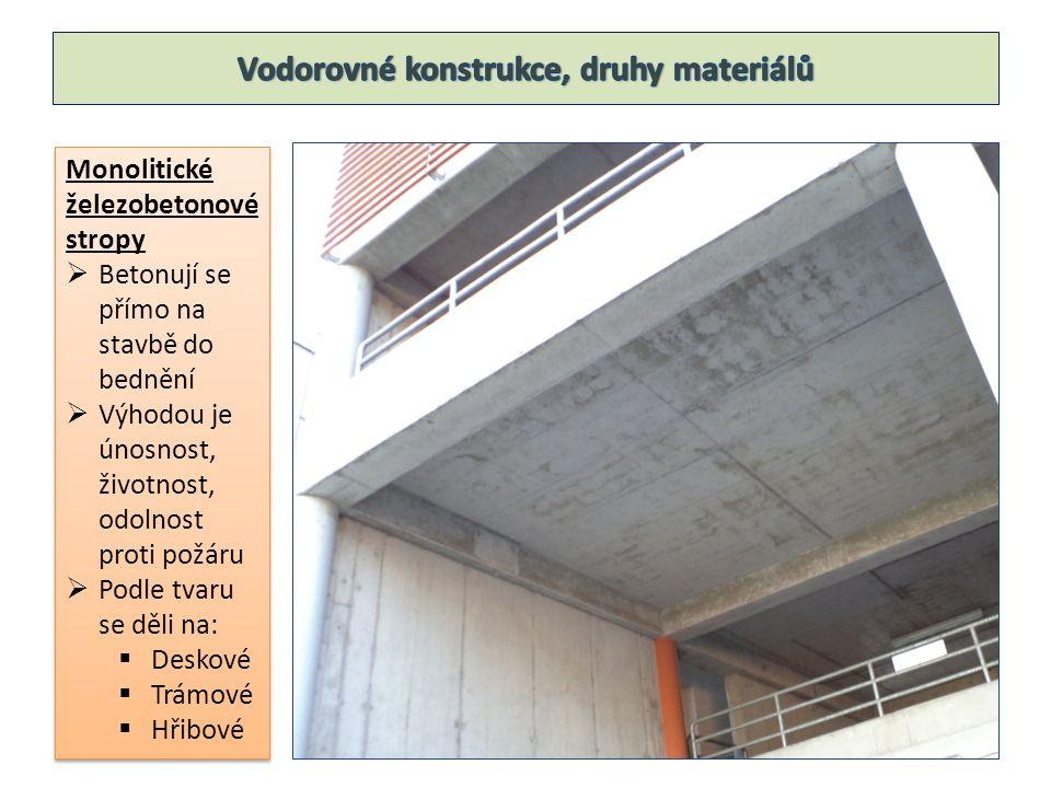 Monolitické železobetonové stropy  Betonují se přímo na stavbě do bednění  Výhodou je únosnost, životnost, odolnost proti požáru  Podle tvaru se dě