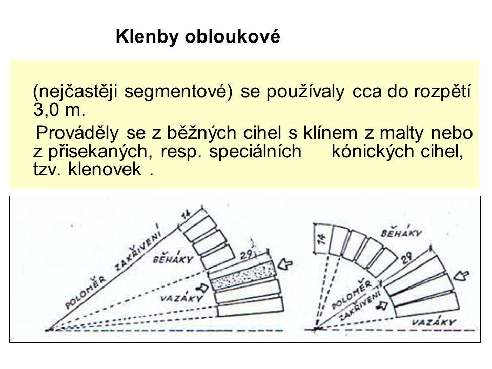 (nejčastěji segmentové) se používaly cca do rozpětí 3,0 m.