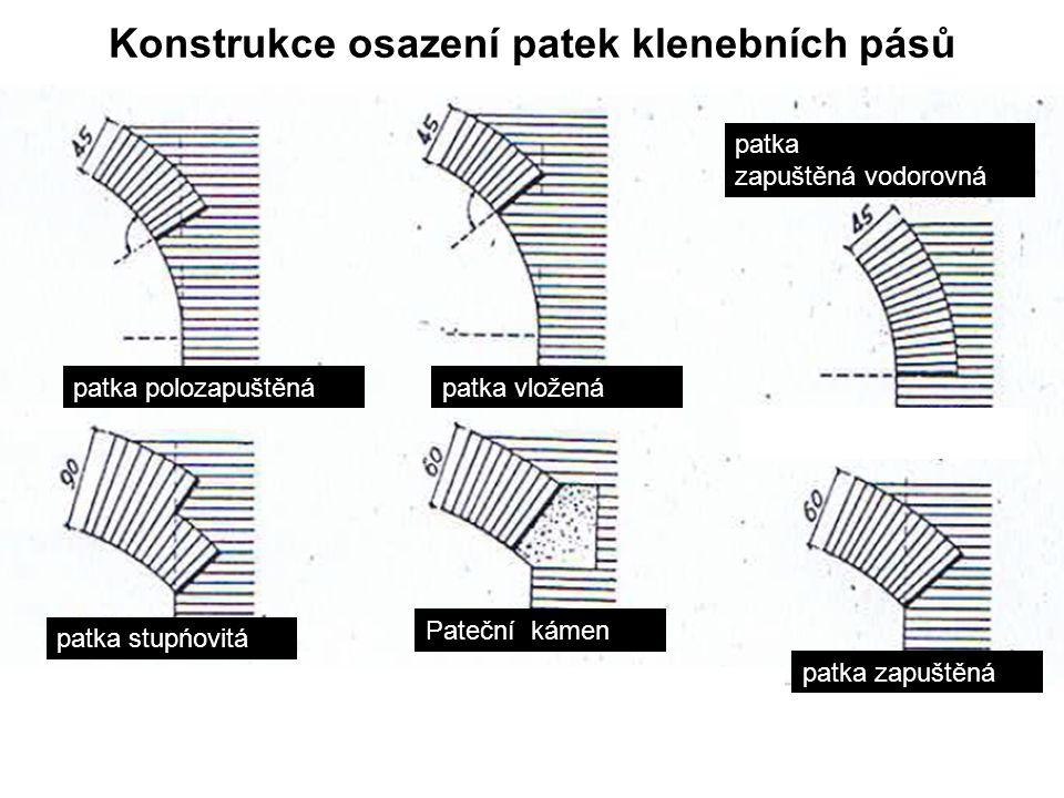 Konstrukce osazení patek klenebních pásů patka polozapuštěnápatka vložená patka zapuštěná vodorovná patka stupńovitá Pateční kámen patka zapuštěná