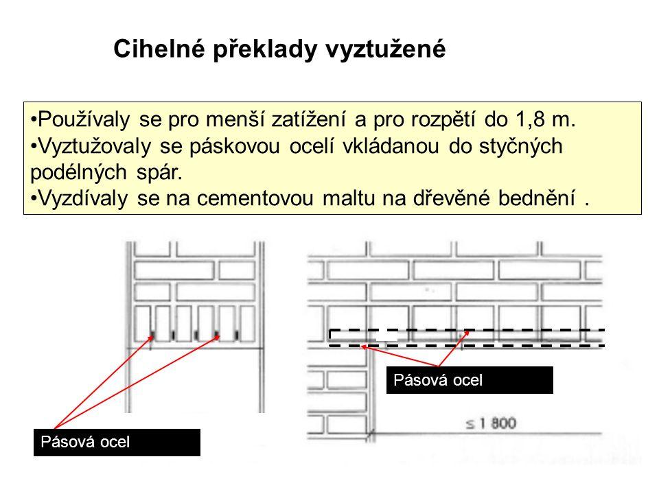 Cihelné překlady vyztužené Používaly se pro menší zatížení a pro rozpětí do 1,8 m.