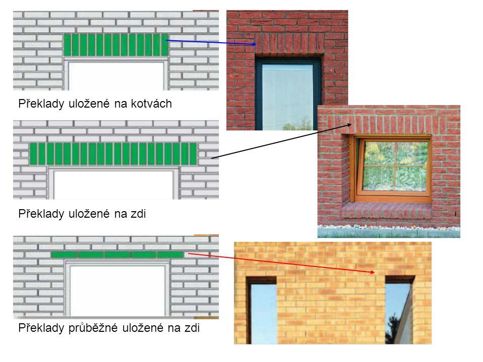 Překlady uložené na kotvách Překlady uložené na zdi Překlady průběžné uložené na zdi