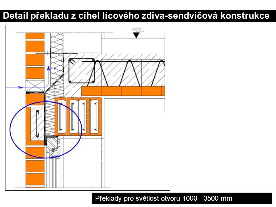 Detail překladu z cihel lícového zdiva-sendvičová konstrukce Překlady pro světlost otvoru 1000 - 3500 mm