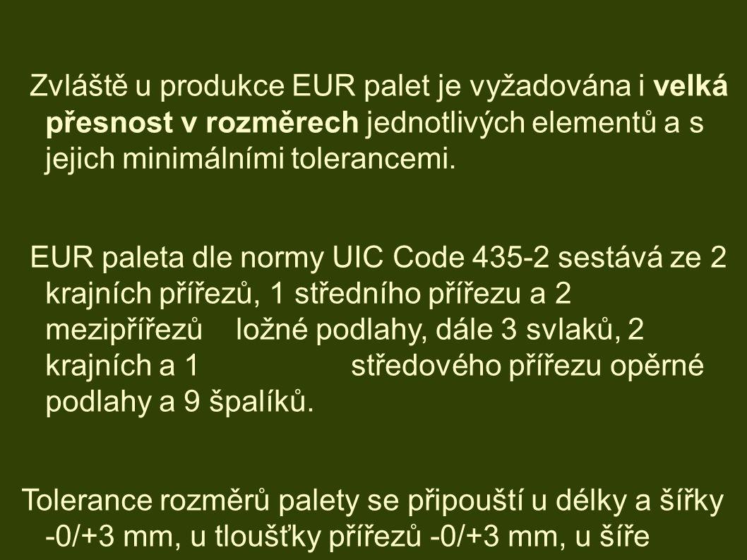 Zvláště u produkce EUR palet je vyžadována i velká přesnost v rozměrech jednotlivých elementů a s jejich minimálními tolerancemi.