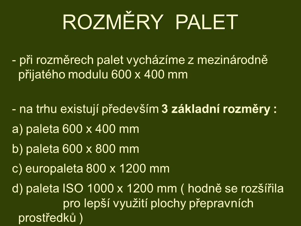 ROZMĚRY PALET - při rozměrech palet vycházíme z mezinárodně přijatého modulu 600 x 400 mm - na trhu existují především 3 základní rozměry : a) paleta 600 x 400 mm b) paleta 600 x 800 mm c) europaleta 800 x 1200 mm d) paleta ISO 1000 x 1200 mm ( hodně se rozšířila pro lepší využití plochy přepravních prostředků )