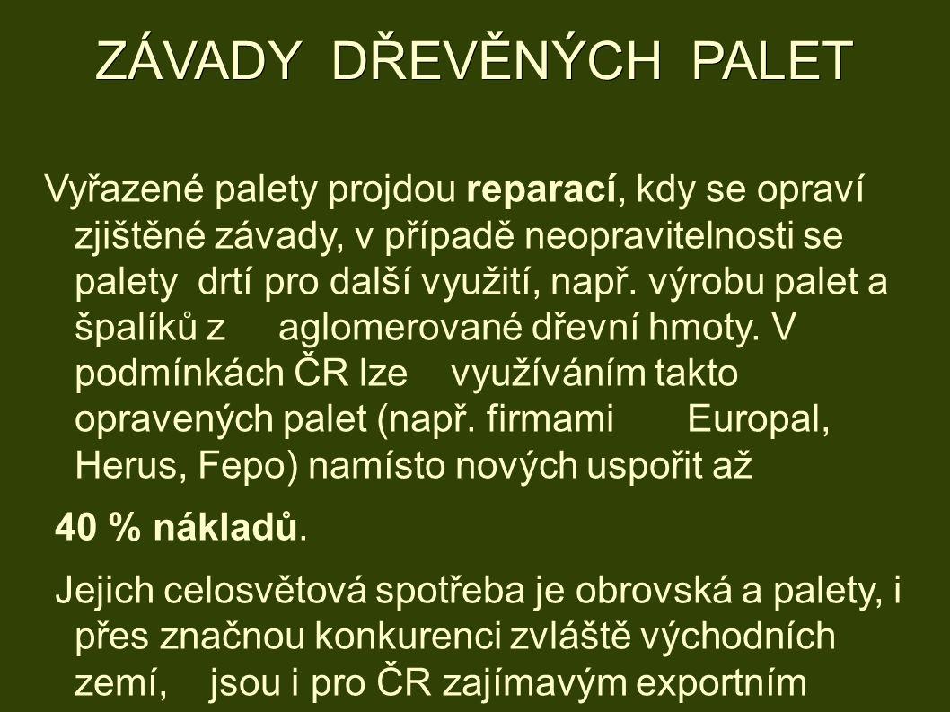 ZÁVADY DŘEVĚNÝCH PALET Vyřazené palety projdou reparací, kdy se opraví zjištěné závady, v případě neopravitelnosti se palety drtí pro další využití, např.