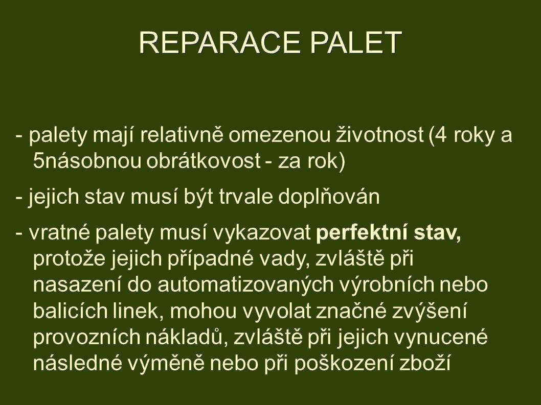 REPARACE PALET - palety mají relativně omezenou životnost (4 roky a 5násobnou obrátkovost - za rok) - jejich stav musí být trvale doplňován - vratné palety musí vykazovat perfektní stav, protože jejich případné vady, zvláště při nasazení do automatizovaných výrobních nebo balicích linek, mohou vyvolat značné zvýšení provozních nákladů, zvláště při jejich vynucené následné výměně nebo při poškození zboží