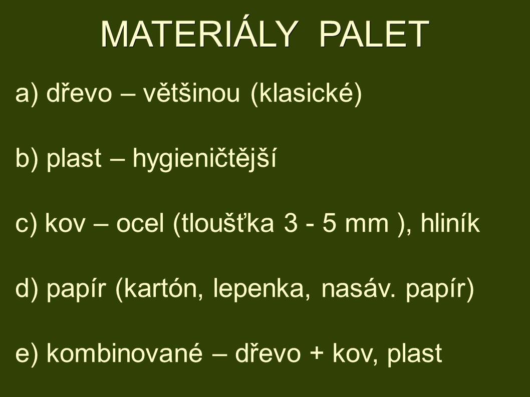 MATERIÁLY PALET a) dřevo – většinou (klasické) b) plast – hygieničtější c) kov – ocel (tloušťka 3 - 5 mm ), hliník d) papír (kartón, lepenka, nasáv.