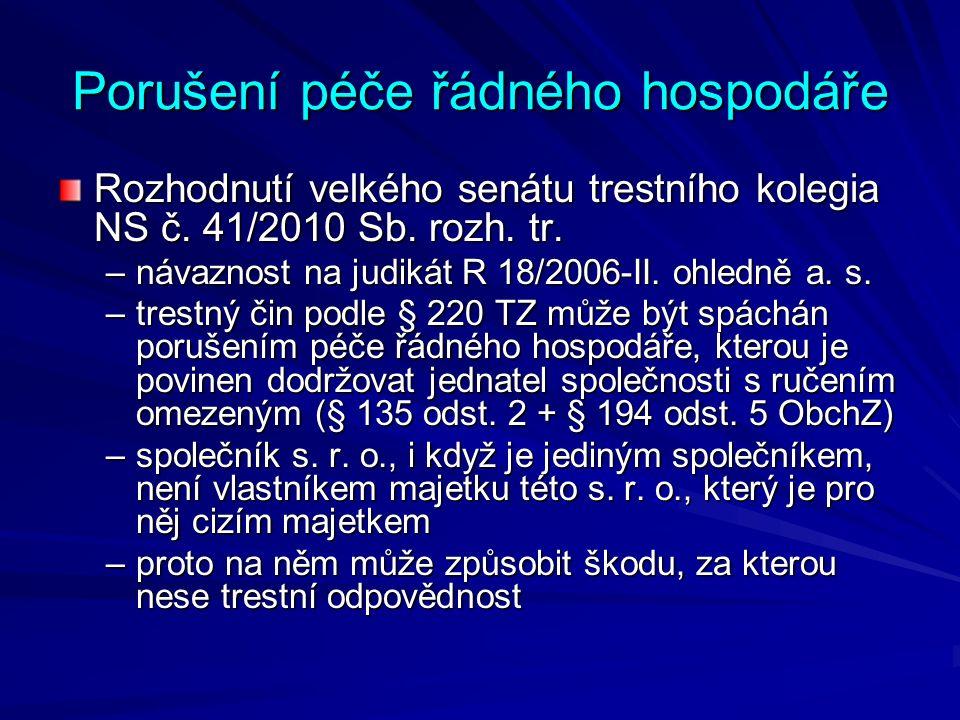 Porušení péče řádného hospodáře Usnesení NS sp.zn.