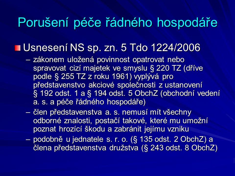Porušení péče řádného hospodáře Usnesení NS sp. zn.