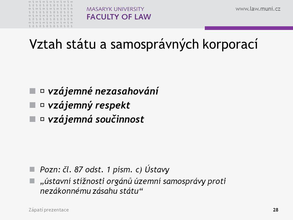 www.law.muni.cz Vztah státu a samosprávných korporací vzájemné nezasahování vzájemný respekt vzájemná součinnost Pozn: čl.