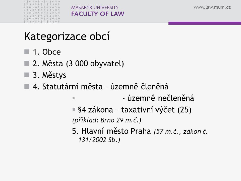 www.law.muni.cz Kategorizace obcí 1. Obce 2. Města (3 000 obyvatel) 3.