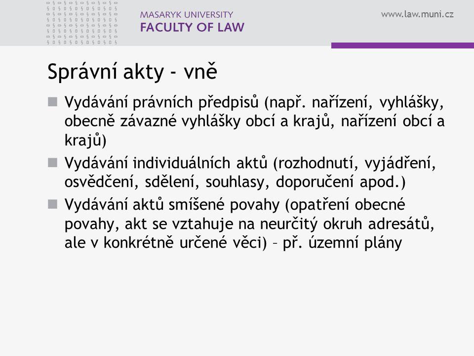 www.law.muni.cz Správní akty - vně Vydávání právních předpisů (např.